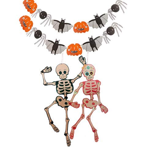 Halloween Paper Garland Crafts (UNIQOOO 14PCS Halloween Kids Party Decoration,Paper Skeletons Pumpkin Garland Banner Hanging Prop,25'' Tall,Boy&Girl Skull Couple Pose n Stay Glow in Dark, Trick-or-Treat Hunted House Door Window)