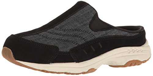 - Easy Spirit Women's Traveltime Clog, Black/Black Suede, 7 M US