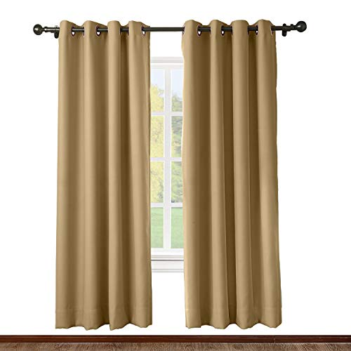 (ChadMade Solid Thermal Insulated Blackout Curtains Drapes Antique Bronze Grommet/Eyelet Wheat 52W x 72L Inch (Set of 2 Panels))