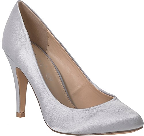 High Light Bridal Court Grey Shoes For CC038 Heel Heel Satin Party Outer Silver Bridesmaids Elegant Prom Womens High Plain Wedding Shoes UwC551qt