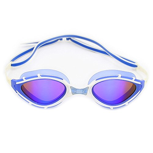 Whale MM-5700 Professional Race Swimming Goggles With Nose Cover Silicon Soft Earplugs&Nose Clip Protection Case Anti-Fog & UV Protection