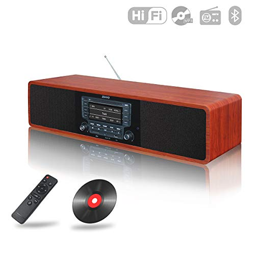 Compact CD MP3 Player FM Radio Home Stereo System Bluetooth Boombox, RMS 2x20W Retro Wood Hi-Fi Bookshelf Speakers, EQ Setup, Home Theater System Surround Soundbar,AUX SD USB RCA Remote Control