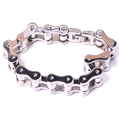 PeNeede Chain Fidget Bracelet Smooth Bike Chain Fidget Toy - Perfect for ADD, ADHD, Anxiety, and Autism Kids/Adult Stress Reducer - Sliver (Bicycle Chain Art)