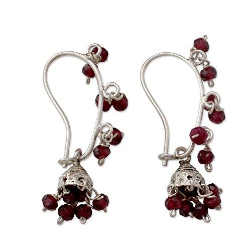 NOVICA Garnet .925 Sterling Silver Chandelier Jhumki Style Hook Earrings 'Music'