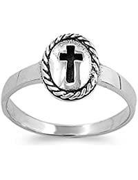 Sterling Silver Vintage Cross Ring Christian Religious Band Solid 925 Sizes 1-9
