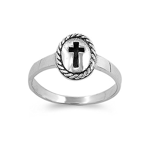 (Sterling Silver Vintage Cross Ring Christian Religious Band Solid 925 Size 6)