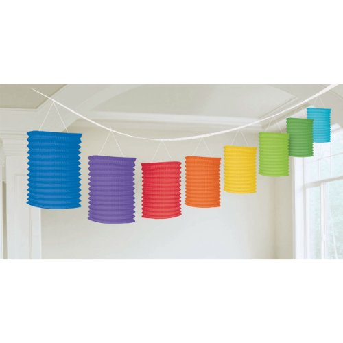 12' Paper Lanterns (Amscan Radiant Rainbow Paper Lantern Garland, 12', Multicolor)