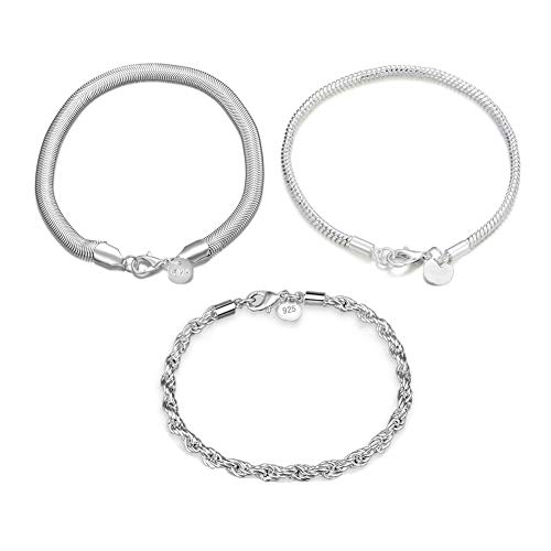 Flat Sterling Mesh - FannyShop 3 Pieces 925 Sterling Silver Bracelet, 8.42 Inch 4MM Twist Link Bracelet, 8.66 Inch Mesh Flat Chain Bracelets & 7.87 Inch Ball Chain Link Jewelry Set