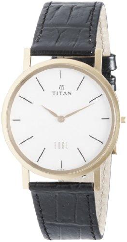 Titan Men's 1595YL01 Edge - Ultra Slim - Black Leather Strap Watch ()