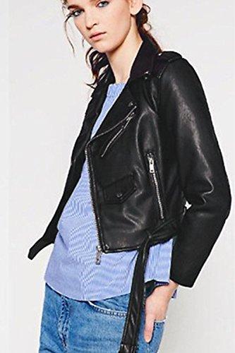 du Collier Black Un Femmes Zilcremo Les Cuir Veste Outcoat Mode Courte Ferme EwUaqSUB