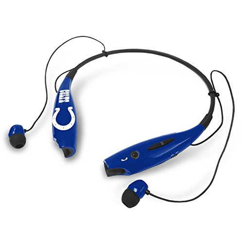 SUCKERZ NFL Indianapolis Colts Bluetooth Headphones Wireless Neckband Headset Stereo Earbuds with Microphone (Indianapolis Colts Earbuds)