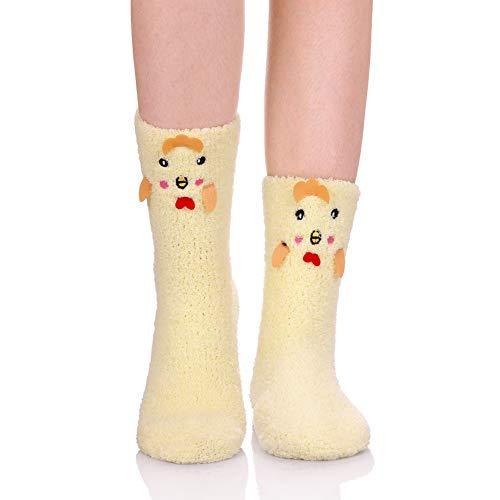 LANLEO Womens Girls Soft Fuzzy 3D Cute Animal Sleeping Winter Warm Slipper Socks 1 Pairs Chick (Warm Fuzzy Slippers For Women)