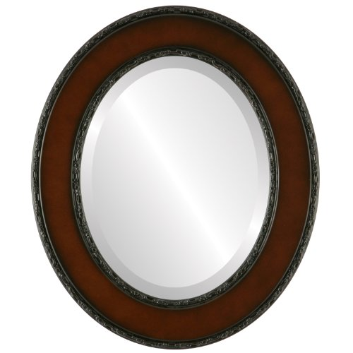 Oval Beveled Wall Mirror for Home Decor - Paris Style - Walnut - 25x29 outside dimensions