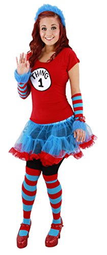 Thing 1 & 2 Costumes (elope Dr. Seuss Thing 1 and Thing 2 Adult Tutu Costume , Red, (S/M 6-8))