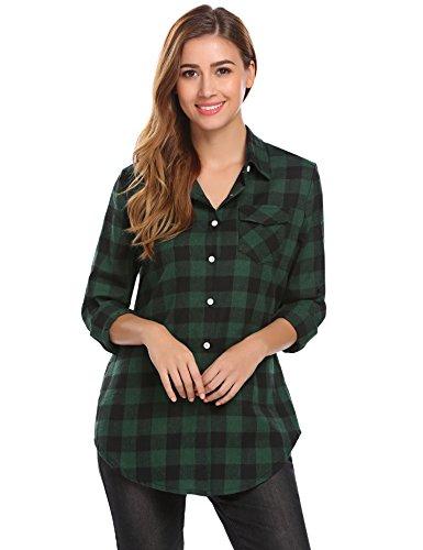 Green Plaid Flannel Shirt (Zeagoo Women's Casual Long Sleeve Flannel Plaid Button Down Shirts(Small,Green))