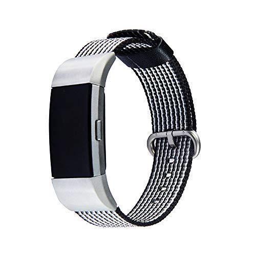 Ximandi for Fitbit Charge 2, Nylon Weave Band Wrist Strap Woven Bracelet Strap Band (Black, 5.5