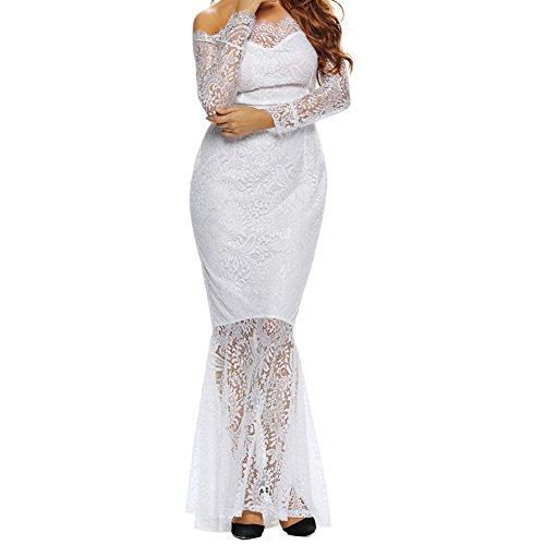Elakaka Eyelash Lace Off Shoulder Long Sleeve Mermaid Dress(white,L)