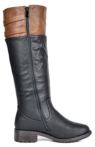 DREAM PAIRS Womens BRADENN Knee High Boot Black Camel Wide Calf D4IBP13