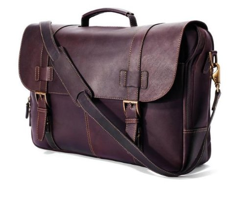 (Winn International Leather Traditional Flap-Over Laptop Briefcase, Chocolate)