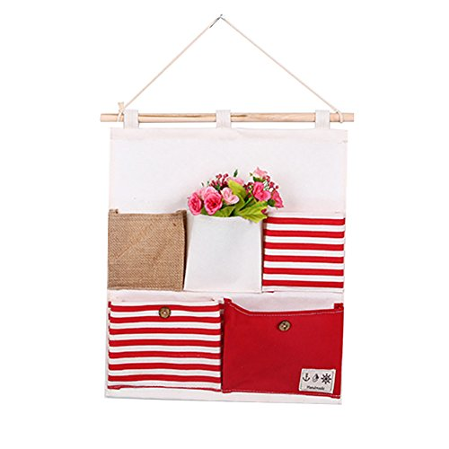 (ruiycltd 5 Pockets Wall Door Hanging Organizer Striped Home Magazine Storage Holder Bag Pouch New Year's Gift Red)