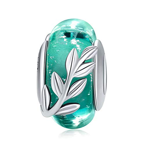 (925 Sterling Silver Charm fit Pandora Charms Bracelet Murano Glass Bead Flower Charm Birthday Gifts Women Jewelry (Green))