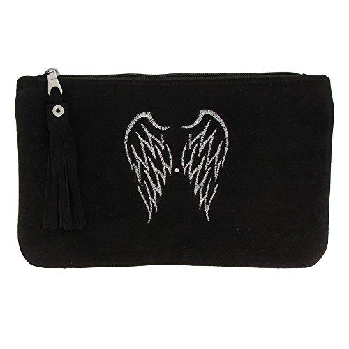 Borsa in Camoscio Ricamata Due Angel Wings Colore Marrone
