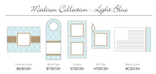 Three Designing Women - Madison Collection Light Blue 3 x 3 Stickers - 12 per pack (Madison Twelve Light)