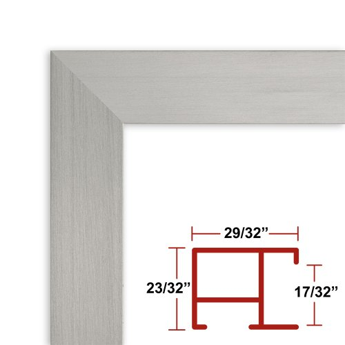 12 x 52 Satin Silver Poster Frame - Profile: #97 Custom Size Picture Frame by Poster Frame Depot