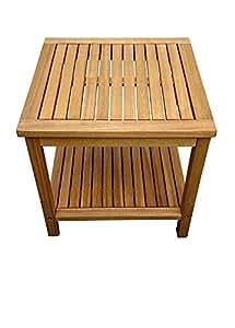SAM® Mesa de apoyo en madera de acacia, certificada FSC® 100% color marrón, 45 x 45 cm, mesa de madera maciza, ideal para balcón, terraza y jardín.