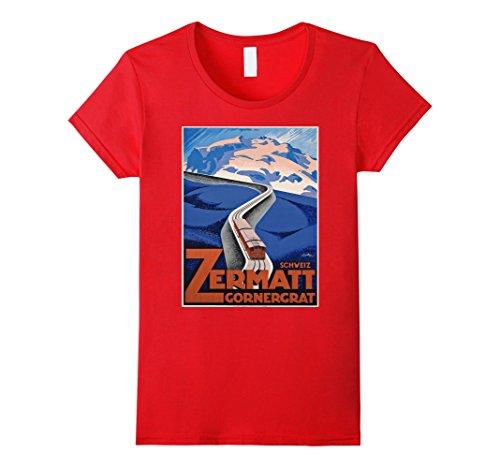Womens Vintage poster - Zermatt Retro T-Shirt Small - Zermatt Images