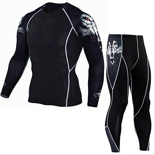 (Men's Multi-Functional Fitness Pants-T-Shirt Set 3D Print Men's Trousers Men's Trousers Rashgard Kit 1 M)