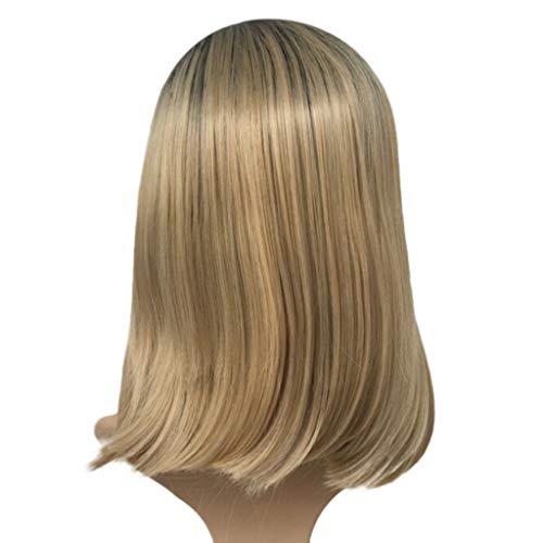 Orcbee  _Blonde Bob Lace Front Wig Straight Synthetic Black Ombre Short Hair Wig 14''