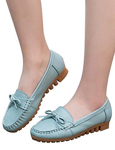 Zoulee Street Grand para Genuino Piel Loafers Mujer Flats Slip Azul On conducción Moda Mocasines qZ8afqxr