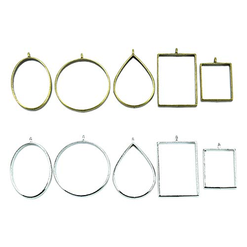 (Fciqven 30Pcs Mixed Open Bezel Pendant for DIY Resin,Jewelry Making,Hollow Frame Pendant with 1 Loop - Bronze&Silver)