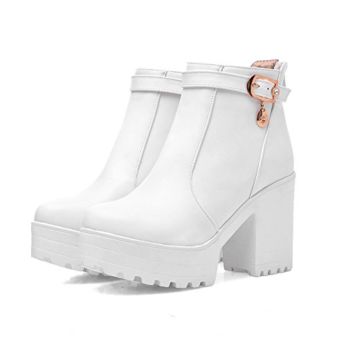 A&N Girls Chunky Heels Metal Ornament Platform Imitated Leather Boots White lZsKjHGOA