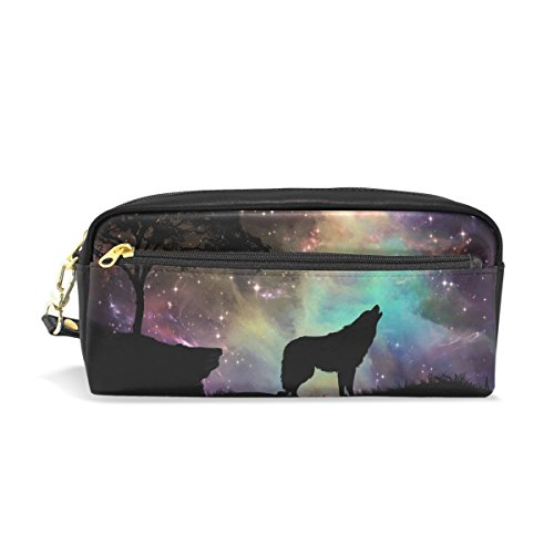 Galaxy Wolf Leather Student Pencil Case Pen Cosmetic Bag for Girls Makeup Pouch]()
