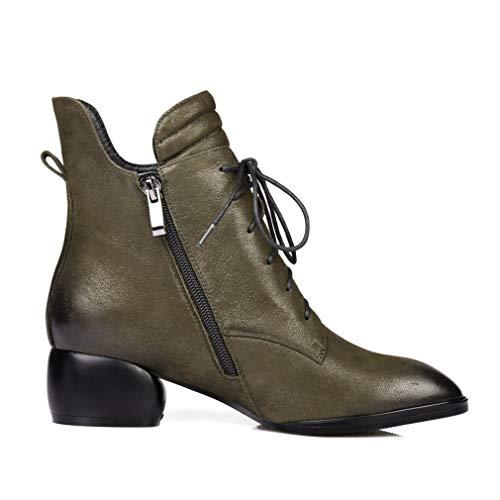Cuero Felpa Botas Con Botines Moda Mujer Para Yan Verde Martin Libre Zapatos Cordones De Gruesas Invierno Al Aire Caminar I0pqwwv