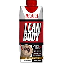 LABRADA - Lean Body Ready To Drink Whey Protein Shake, Convenient On-The-Go Meal Replacement Shake for Men & Women, 40 grams of Protein – Zero Sugar, Lactose & Gluten Free, Chocolate (Pack of 12)