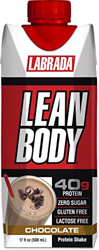 LABRADA NUTRITION - Lean Body RTD Whey Protein Shake, Convenient On-The-Go Meal Replacement Shake for Men & Women, 40 grams of Protein – Zero Sugar, Lactose & Gluten Free, Chocolate (Pack of 12)