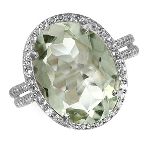 HUGE 6.8ct. 16x12MM Natural Oval Shape Green Amethyst & White Topaz 925 Sterling Silver Ring Size 9 ()
