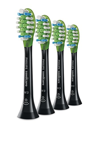 Genuine Philips Sonicare Premium White replacement toothbrush heads, HX9064/95, BrushSync technology, Black 4-pk