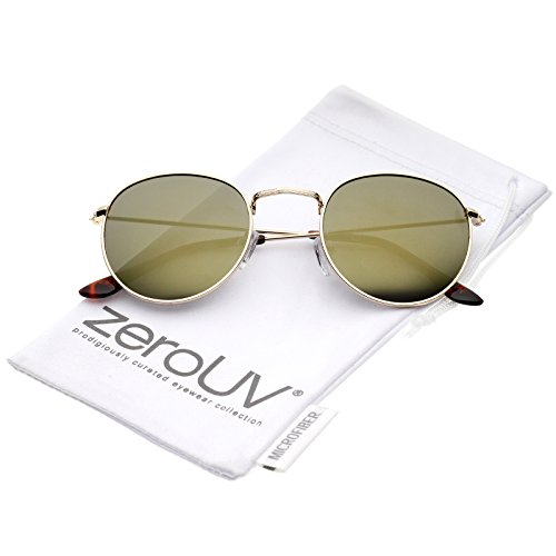 zeroUV - Retro Metal Frame Thin Temples Colored Mirror Lens Round Sunglasses 50mm (Gold / Gold - Zerouv