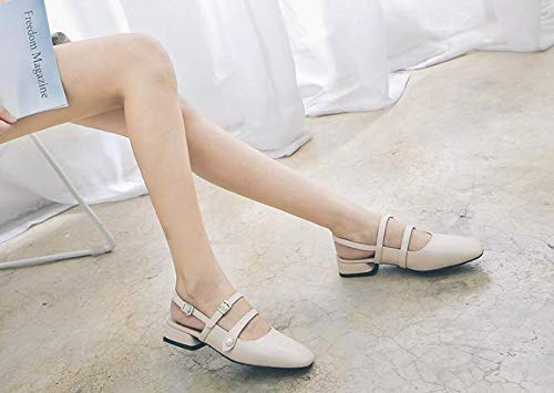 basso tacco baotou superficiale sandali tacco albicocca bocca trentotto KOKQSX colore ruvido piatto fondo XHYwq