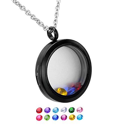 [HooAMI 30mm Round Magnetic Closure Floating Living Memory Lockets Pendant Necklace,Black] (Small Round Locket Pendant)