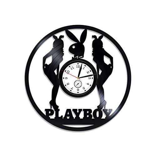 (Kovides Playboy Vinyl Clock Playboy Vinyl Record Wall Clock Playboy Wall Clock Vintage Playboy Gift Clock Playboy Wall Art Playboy Clock Hugh HEFNER Gift for Man Playboy Man Vinyl Wall Clock)