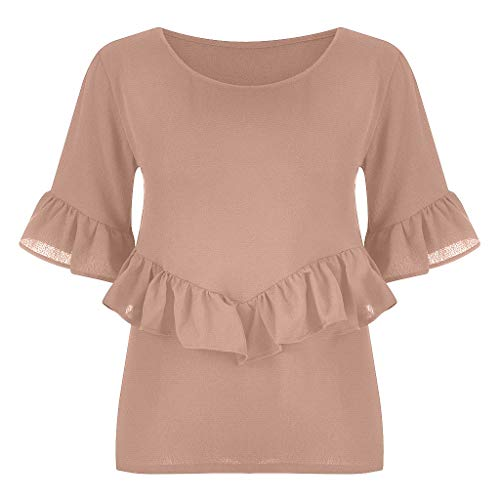 (Benficial Women's Fashion Ruffle Sleeve Round Neck Summer Blouse Top T-Shirt Plus Size 2019 Summer Pink)