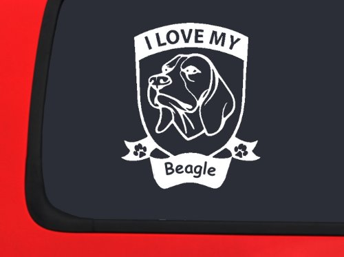 I Love My Beagle ~ Hound Dog Vinyl Decal Auto Truck Window Sticker Puppy