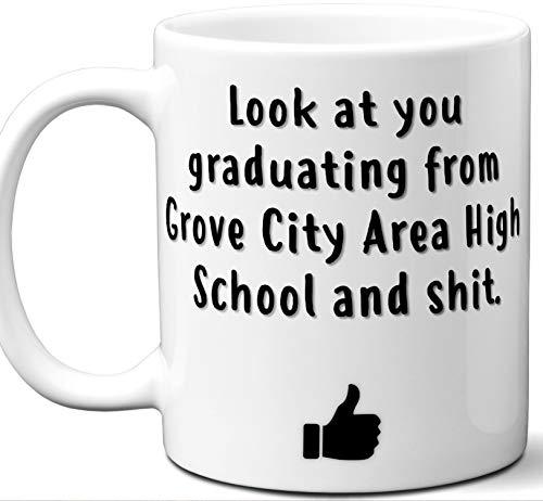 Grove City Area High School Graduation Gift. Cocoa, Coffee Mug Cup. Student High School Grad Idea Teen Graduates Boys Girls Him Her Class. Funny Congratulations. 11 oz. ()