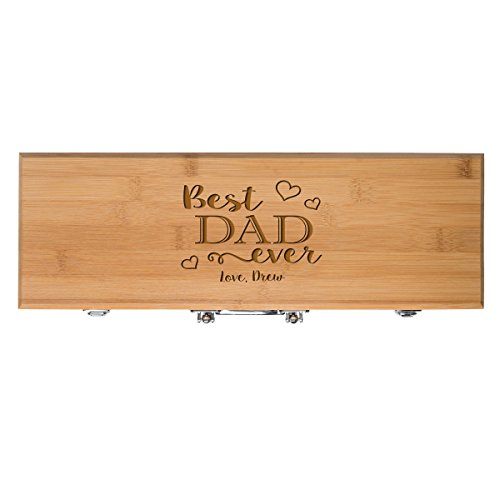 Personalized Gift for Dad Custom Engraved Best Dad Ever 3pc Barbecue Gift set for Outdoor grills (Bamboo)