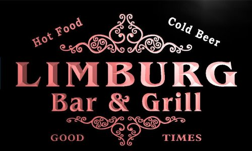u26496-r LIMBURG Family Name Bar & Grill Home Beer Food Neon (Limburg Light)